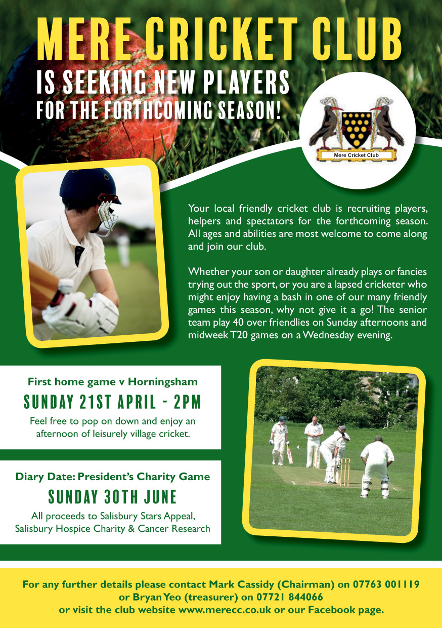 Mer Cricket Club Flyer Front