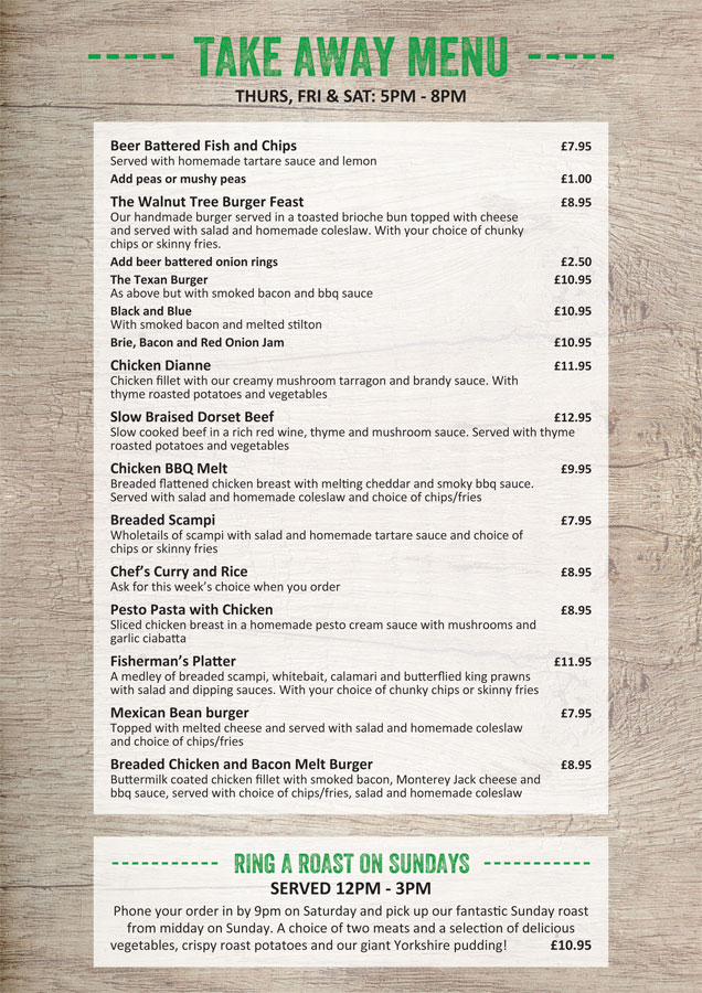 Walnut Take Away Menu 2