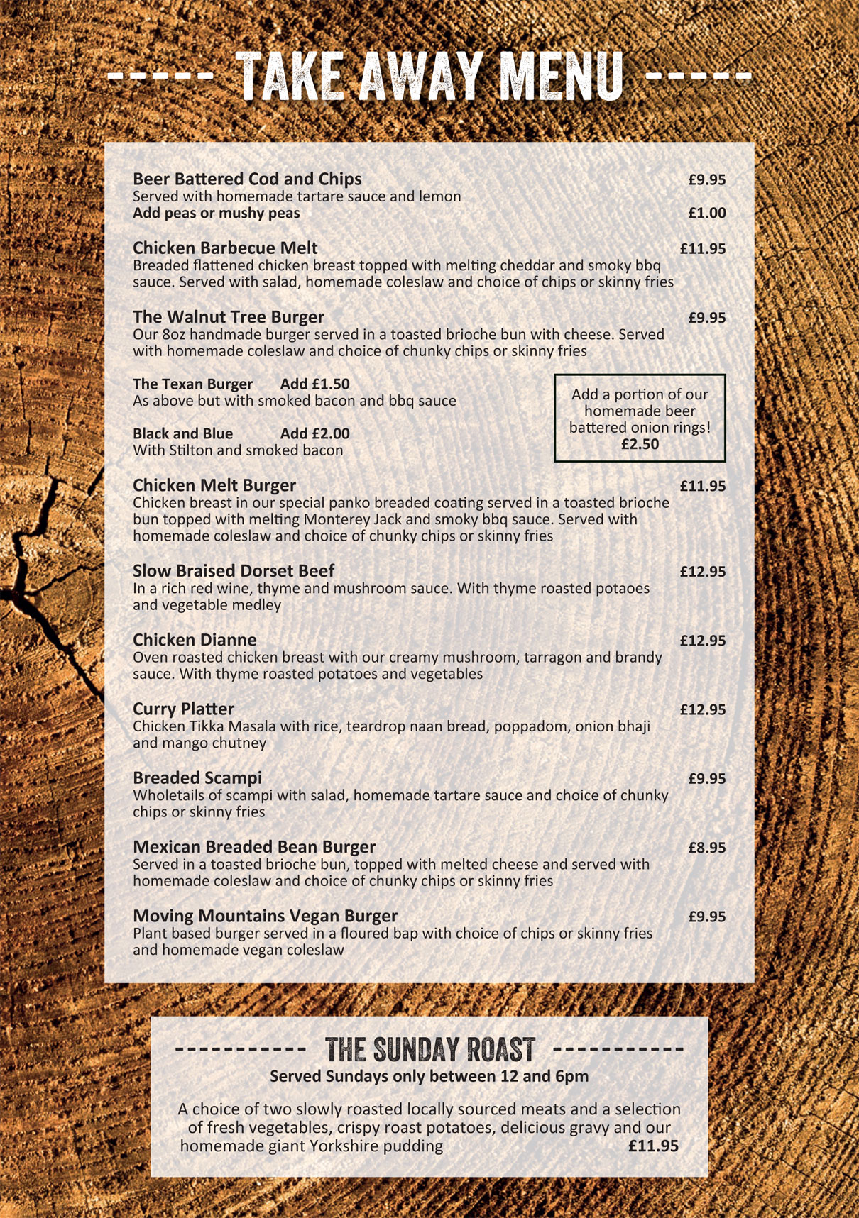 Walnut Take Away Menu Nov 2020